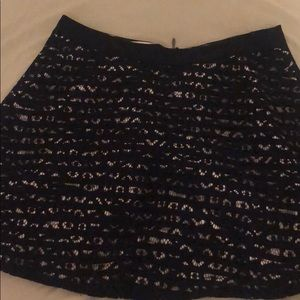 Navy stripped mini skirt with lace overlay